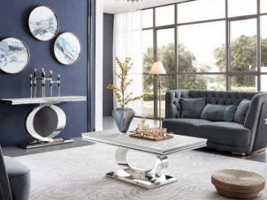 Coffee Table - Chrome - White Marble Top Coffee Table