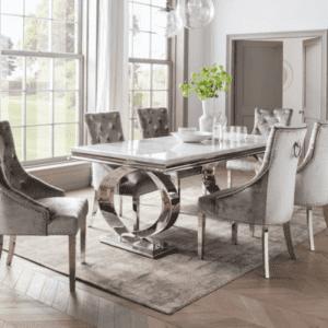 200cm Dining Table Set - Chrome White Marble - 6 Pewter Velvet Chairs
