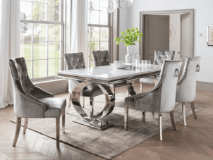 200cm Dining Table Set - Chrome White Marble - 6 Pewter Velvet Chairs