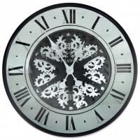 Wall Clock - Round 'Champs Elysee's' Moving Cogs Wall Clock - Mirrored & Black Finish