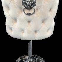 Cream Velvet & Chrome Deep Buttoned Bar Stool - Chrome Lion knocker