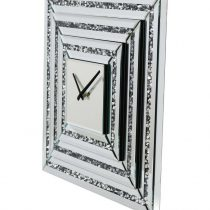 square crystal mirrored wall clock