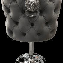Grey Velvet & Chrome Deep Buttoned Bar Stool - Chrome Lion knocker