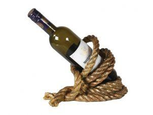 Wine Bottle Holder - Entwined Gold Rope - Nautical Design