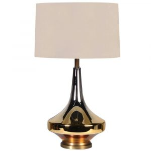 Table Lamp - Amber Based Glass Finished Table Lamp - Round Beige Shade