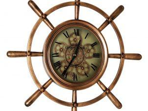 Wall Clock - Nautical Design Round Ships Wheel Design - Moving Cogs