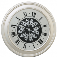 Round Moving Cogs Wall Clock - Silver Finish This clock comes with the added centre piece of moving cogs and has to be seen to be appreciated. A fantastic new design to add to our clock range, but most importantly you can purchase this in store also. Roman numerals finish off the look. Battery Operated - Not included See all our other clocks - CLICK HERE FOR THE FULL RANGE