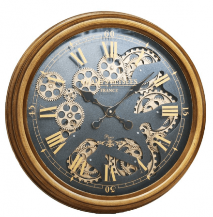 Round Glass Fronted Moving Cogs Wall Clock - Gold Finish