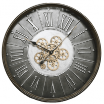 Round Moving Gold Cogs Wall Clock - Metal Finish
