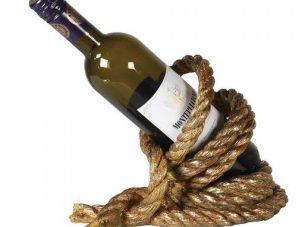 Wine Bottle Holder - Entwined Gold Rope - Nautical Design