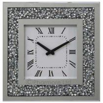 square crystal silver wall clock