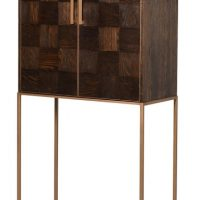Drinks Cabinet - Solid Parquet Wood Tall Drinks Bar Cabinet - Metal Base