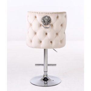 Bar Stool - Lion Knocker - Deep Buttoned Cream Velvet