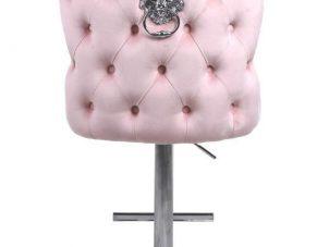 Bar Stool - Lion Knocker - Chrome - Deep Buttoned Bar Stool - Pink Velvet