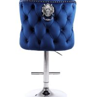 Bar Stool - Lion Knocker - Chrome - Deep Buttoned Bar Stool - Midnight Blue Velvet