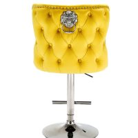 Bar Stool - Lion Knocker - Chrome - Deep Buttoned Bar Stool - Mustard Velvet