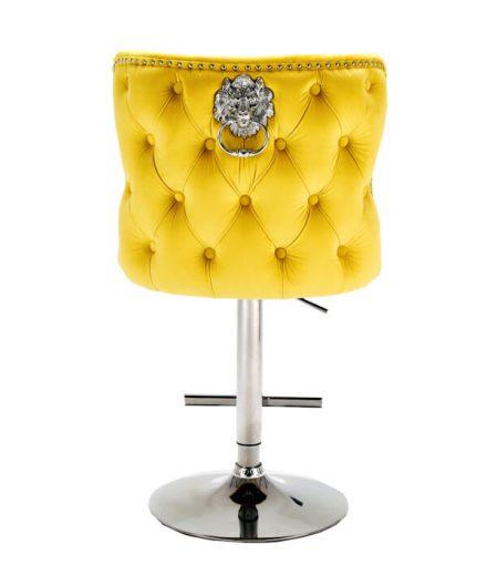 Bar Stool - Lion Knocker - Chrome - Deep Buttoned Bar Stool - Mustard Velvet