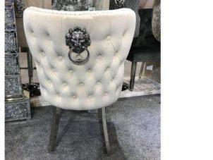 Dining Chair - Cream Velvet Deep Buttoned Chrome Leg - Chrome Lion knocker
