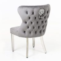 Grey Velvet & Chrome Deep Buttoned Dining Chair - Chrome Lion knocker This Grey Dining Chair is a great new design to add to the Dining Chair Range Range - rich velvet with a deep button design and chrome pull ring. See the matching bar stool pictures attached. Available in Cream -  Black - Pink & Grey velvet. View our full Bar Stool Collection CLICK HERE View our full Dining Chair Collection CLICK HERE