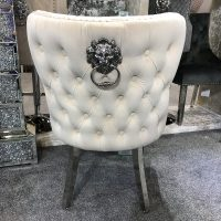 Dining Chair - Cream Velvet Deep Buttoned Chrome Leg - Chrome Lion knocker