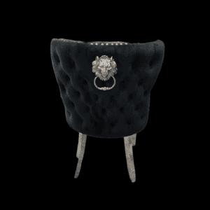 Dining Chair - Black Velvet Deep Buttoned Chrome Leg - Chrome Lion knocker