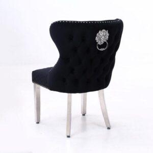Black Velvet & Chrome Deep Buttoned Dining Chair - Chrome Lion knocker