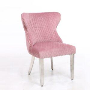 Pink Velvet & Chrome Deep Buttoned Dining Chair - Chrome Lion knocker