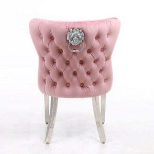 Dining Chair - Pink Velvet Deep Buttoned Chrome Leg - Chrome Lion Knocker