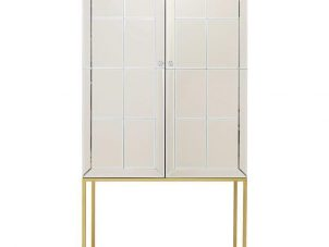 Drinks/Bar Cabinet - Antique Mirrored 2 Door Cabinet - Brass Base