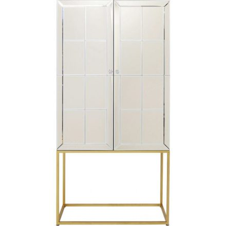 Luxury Home Bar Cabinet - Mirrored Champagne Finish This reflecting tall Home Bar Cabinet with glass knobs is the perfect addition to your home. Plenty of space for all your booze and glass collection. Measures (H/W/D): 181 x 89 x 47 centimeters For other Bar Cabinets CLICK HERE