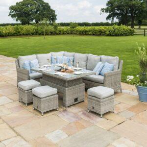 Corner Sofa Dining Set - Rising Table/Ice Bucket - Grey Polyrattan