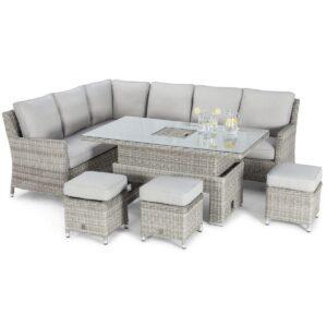 Corner Sofa Dining Set - Rising Table - Ice Bucket - Grey Polyrattan