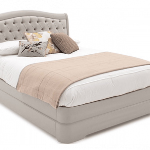 """4ft 6"""" Double Bed - Deep Buttoned - Isabel Bedroom Range - Taupe Finish"""