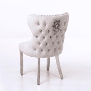 Dining Chair - Cream Velvet Deep Buttoned - Chrome Leg - Chrome Lion knocker