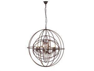 Chandelier - Cut Glass - 6 Arm - Double Sphere - Iron