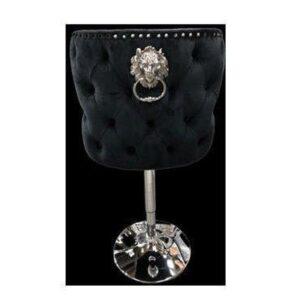 Bar Stool - Lion Knocker Chrome Deep Buttoned Bar Stool - Black Velvet