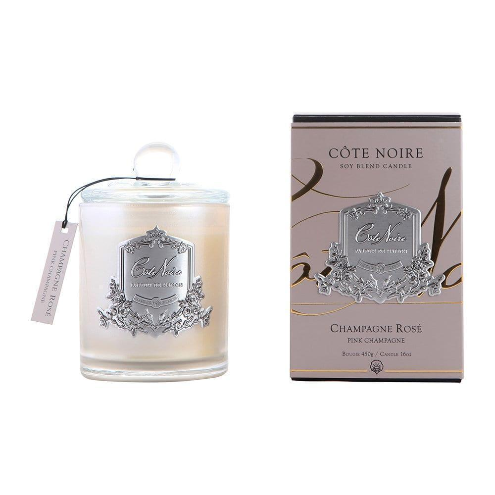 Cote Noire Glass Scented Candle - Champagne Rose - 100 Hours