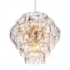 26 Light - 6 Tiered Cut Crystal Large Chandelier - Chrome Surround