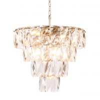 14 Light - 4 Tiered Cut Clear Crystal Chandelier - Chrome Surround