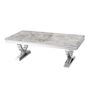 Chrome Based Grey Marble Top Coffee Table
