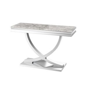 Chrome Based Grey Marble Top Console Table