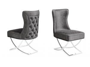 Deep Buttoned Curved Back Dining Chair - Dark Grey Velvet