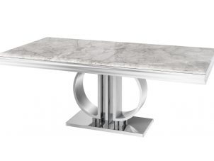 180cm Dining Table - Polished Chrome Base - Grey Marble Top