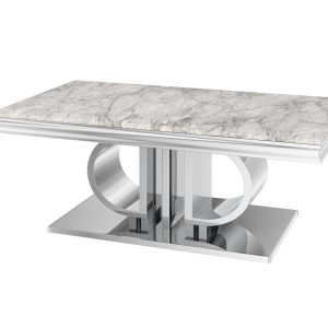 Coffee Table - Chrome Based Grey Marble Top