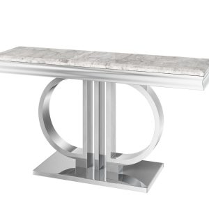 'Marbaya Range' Chrome Based Grey Marble Top Console Table