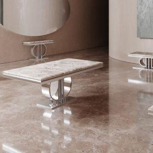 Coffee Table - Chrome Based - Grey Marble Top - Marbaya Furniture Range