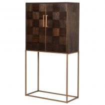 Solid Parquet Wood Tall Drinks Bar Cabinet - Metal Base