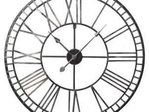 Wall Clock - Gold - Roman Numerals - Black Iron Skeleton Wall Clock