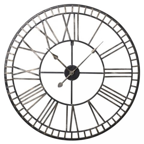 Gold Numerals Black Iron Skeleton Roman Numerals Wall Clock - Battery Operated