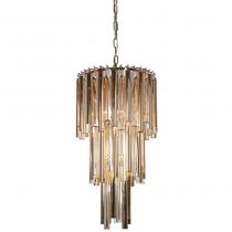 Gold & Chrome Glass Tiered Chandelier - 5 Light